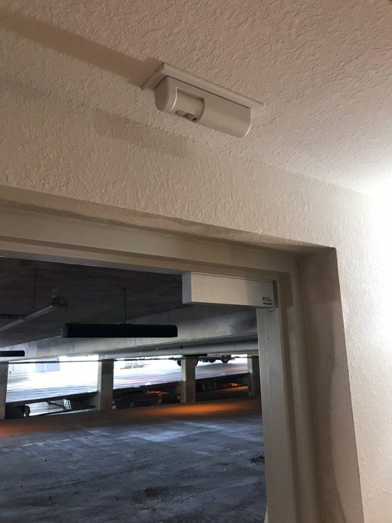 Single maglock installed on parking garage